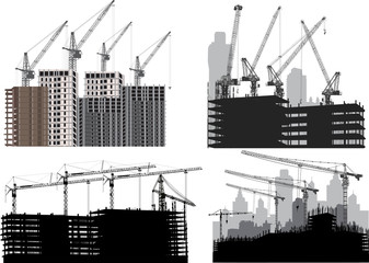 four industrial cities silhouettes