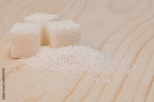 Sugar on a wooden surface