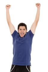 hispanic man winning and celebrating