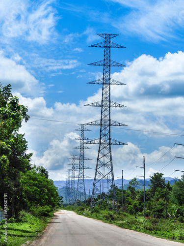 canvas print picture high voltage tower sky background.