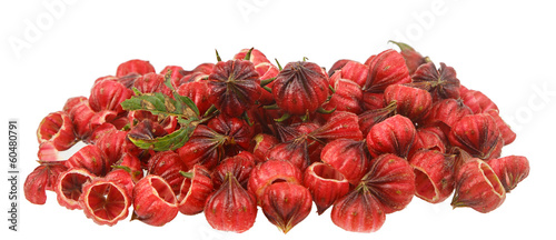 Heap of fresh red roselle  isolated on white