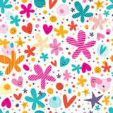 Fototapeta flowers and hearts pattern