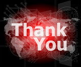 The word thank you on digital screen, social concept