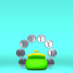 Green Purse And Some Coins That Are Placed Circled Form