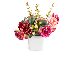 flower pot (made from fabric), isolated on white background