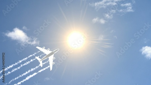 Airplane in Sky With Sun