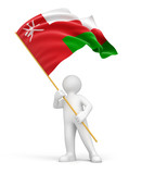 Man and Oman flag (clipping path included)