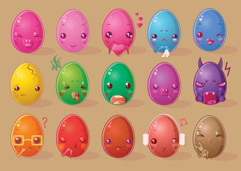 Set of fifteen egg-shaped emoticons in a funny chibi style