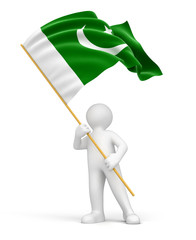Man and Pakistan flag (clipping path included)