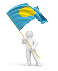Man and Palau flag (clipping path included)