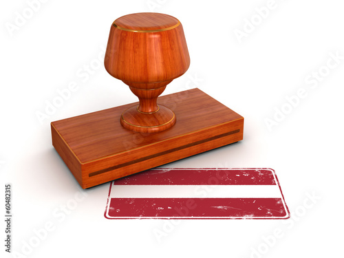 Rubber Stamp Latvian flag (clipping path included)