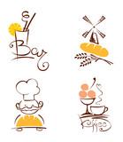 Fototapety Collection illustration -- cafes and bakeries