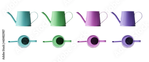 Cyan watering can mini isolated on white background