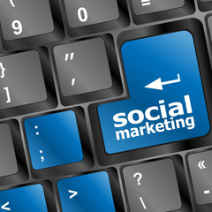online marketing or internet marketing concepts, key of keyboard