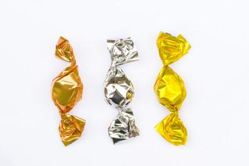 Kupfer, Silber und Gold Bonbon