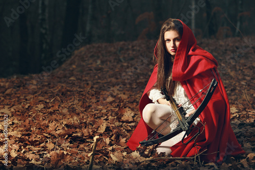 Little red riding hood  in the dark forest