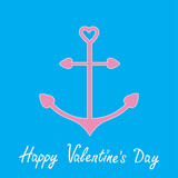Pink anchor with shapes of heart. Happy Valentines Day card.