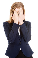 Beautiful business woman covering her face.