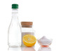 Natural cleaners. Vinegar, baking soda, salt and lemon. - 60483943