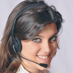 Friendly operator wearing a headset