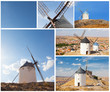 Set of photos with windmills, Consuegra, Spain