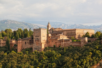 view of Spain's tourist attraction:arabic fortress of Alhambra