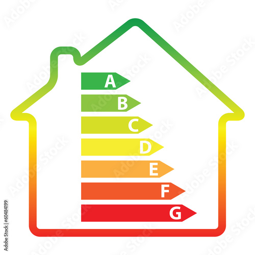 energy efficiency rating and house (vector)