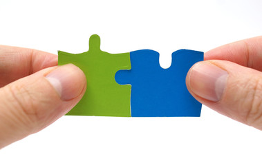 Teamwork and partnership concept with puzzle