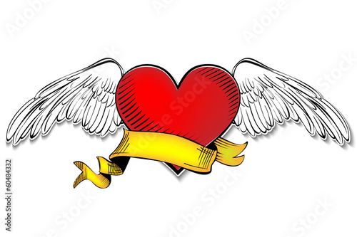 Heart with banner vector illustration