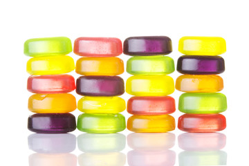 Composition of colorful boiled sweets.