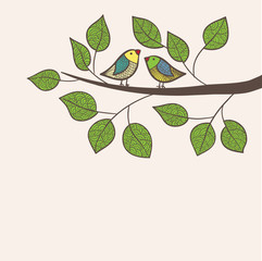 Greeting card with two birds set on tree, in vector