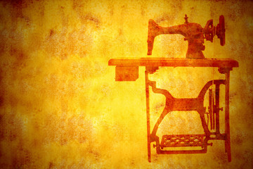 Old sewing machine, vintage background