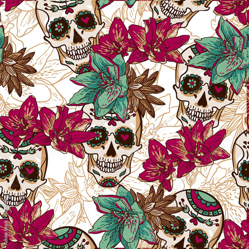 Skull, Hearts and Flowers Seamless Background - 60485140