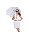 Attractive young woman with umbrella posing against white