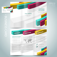 colored action 3d line brochure design template white background