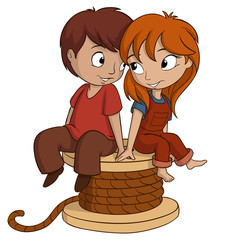 Boy and girl are sitting with heart shape on white background