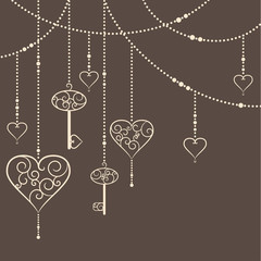 Vintage hearts and keys garland