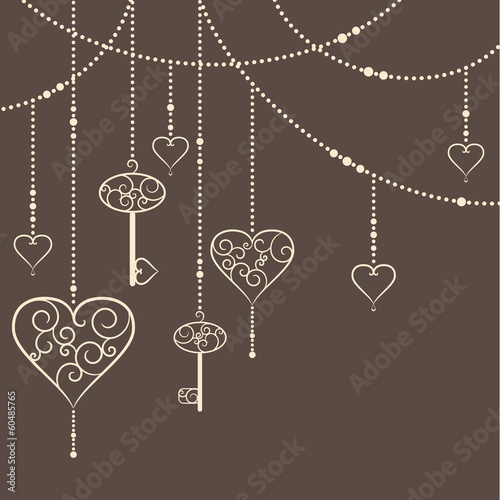 Vintage hearts and keys garland