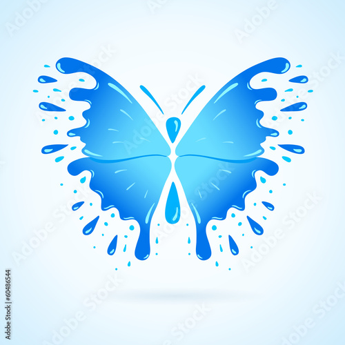butterfly water aqua blue splash drops