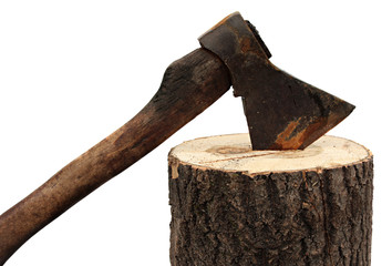 axe and firewood isolated on a white background.