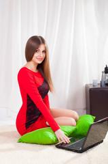 beautiful woman enjoy online shopping