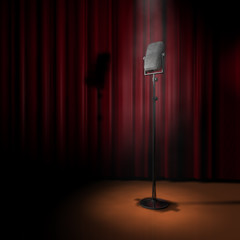 Mikrofon Bühne Spot Vorhang R2
