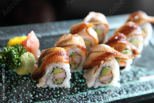 eel and avocado maki sushi