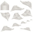 Paper plane set on white