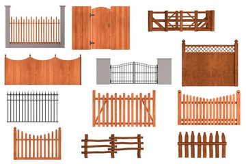realistic 3d render of fences