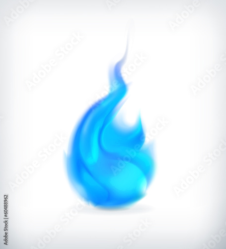 Blue fire, vector icon
