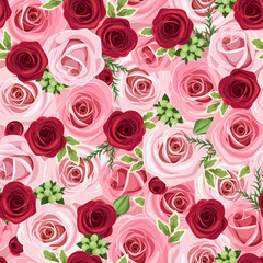Seamless background with red and pink roses. Vector illustration