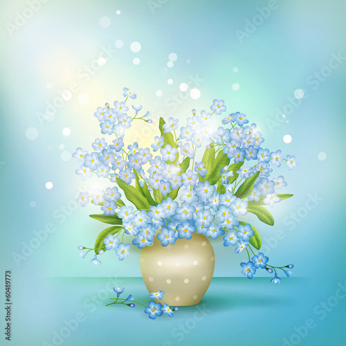Spring blue flowers forget-me-nots in vase vector
