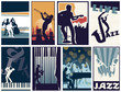 Set of 8 different vector jazz posters - 60490174