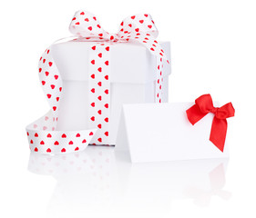 White box tied satin ribbon with heart symbol bow and Greeting n